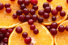 Orange slices and red cranberries Stock Images