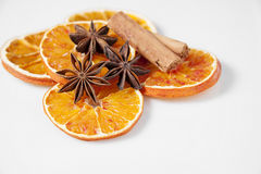 Orange slices and spices stock photos