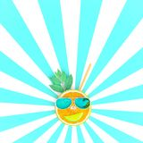 Orange slices with sunglasses on blue and white pattern color Stock Images