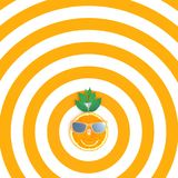 Orange slices with sunglasses on orange and white pattern color Royalty Free Stock Image