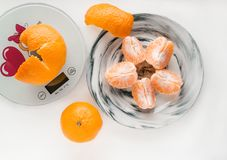 orange slices of tangerines on a plate stock image
