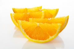 Orange Slices Wedges on White Plate Stock Photography