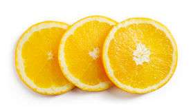 Orange slices  on white, from above Royalty Free Stock Photography