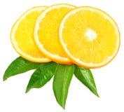 Orange slices on a white background stock photography