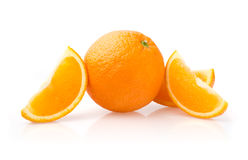Orange and Slices on White Background Royalty Free Stock Image