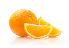 Orange and Slices on White Background Stock Photography
