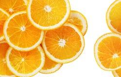 Orange slices on white. Orange slices isolated on white background. Top view royalty free stock photo