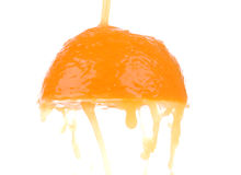 Orange sloce and juice splash Royalty Free Stock Photography