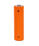 Orange small battery. With positive and negative signs Stock Photo