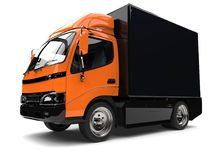 Orange small box truck with black trailer. Isolated on white background Royalty Free Stock Photography