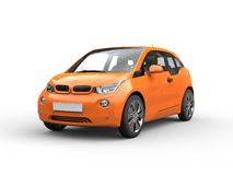 Orange small electric car Stock Photography