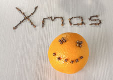 Orange with smile with text Xmas Royalty Free Stock Image
