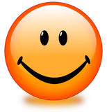 Orange Smiley Face Button Stock Image