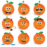 Orange smileys vector icon set Stock Image