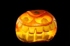 Orange smiling pumpkin Royalty Free Stock Images