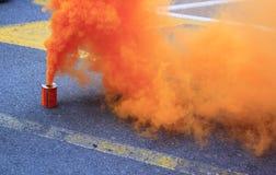 orange smoke cans royalty free stock photos