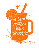 Orange smoothie in mason jar silhouette. Royalty Free Stock Photo