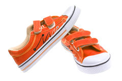 Orange Sneakers Isolated On White Royalty Free Stock Photo