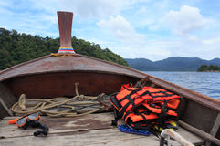 Orange snorkel scuba mask on long tail boat to Lipe sea and islands, Thailand Stock Image