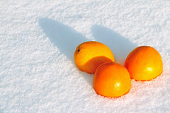 Orange snow. Juicy oranges lie in the snow Royalty Free Stock Photography