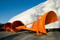 Orange snow plow blades Royalty Free Stock Photos