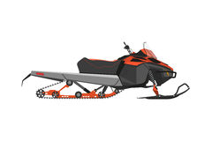 Orange snowmobile on a white background. Transport for extreme w Stock Image