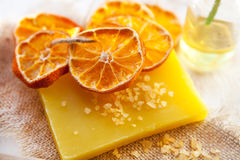 Orange soap and salt Stock Photography