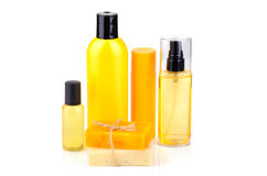 Orange soaps and lotions royalty free stock photos