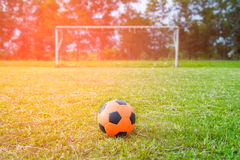 Orange soccer ball Stock Photo