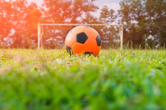 Orange soccer ball Royalty Free Stock Photo