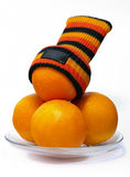 Orange with sock Royalty Free Stock Photography