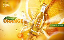 Orange soda pop ad. With a tilt glossy bottle shining with juice flows, 3d illustration Vector Illustration