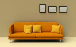 Orange sofa Stock Images