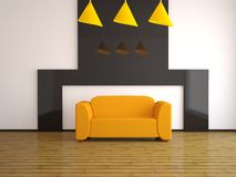 Orange sofa Stock Image