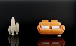Orange sofa in dark room Royalty Free Stock Photos