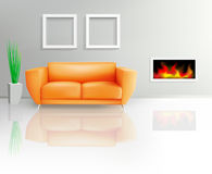 Orange Sofa and Fireplace Royalty Free Stock Photography