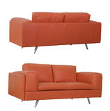 Orange Sofa front and back Stock Image