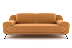 Orange sofa isolated on white Royalty Free Stock Photography