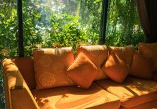 Orange sofa with light from the glass room. Garden view Royalty Free Stock Images