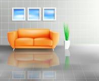Orange Sofa in mit Ziegeln gedecktem lebendem Platz lizenzfreie abbildung