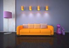 Orange sofa in room Stock Image