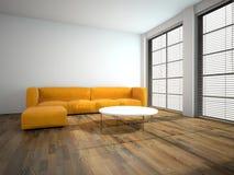 Orange sofa in the room 3d rendering Stock Photography
