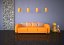Orange Sofa Stone Room Royalty Free Stock Photo