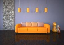 Orange Sofa Stone Room Royalty Free Stock Photo