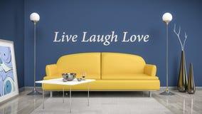 Orange soffa i ett blått rum stock illustrationer