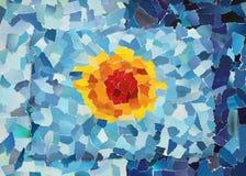 Orange sol i blå himmel Royaltyfri Fotografi