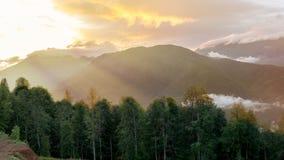 Orange solnedgång över dalen som omges av berg och skogen royaltyfria bilder