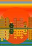 Orange solnedgång över staden Arkivbild