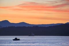 orange solnedgång Fotografering för Bildbyråer
