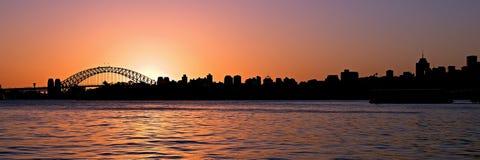 orange solnedgång stadsmorgonsommar sydney Royaltyfri Foto
